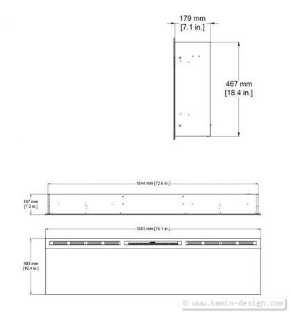 Dimplex Prism 74 Elektrobreitwandkamin