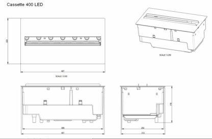 Skizze Dimplex Cassette 400 LED Kamineinsatz CAS400L