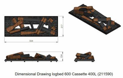 Holzauflage 56cm Dimplex Cassette 400LED